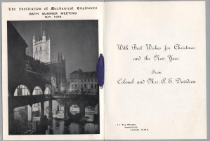 IMechE members would travel every summer to gather in a place of interest, in May 1935 they went to Bath. The interior of the card carries the image, the front is plain. Christmas 1935.