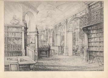 The Institution's Library (also home to the Archive) has changed little on the face of it but in actual fact we do offer modern services such as a virtual library and archive. Drawing by Sydney R Jones. Christmas 1953.