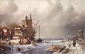 'Dutch Winter Scene', by Charles Leickert, 1875.