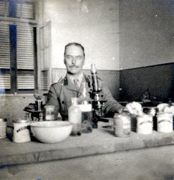 Ross in his lab, Alexandria 1915
