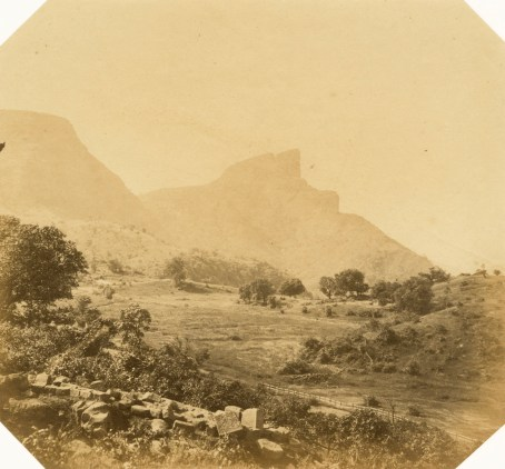 Bhore Ghat Railway: Khandalla Carnac Point, and the Duke's Nose Mountains, from Mr Berkley's bungalow.