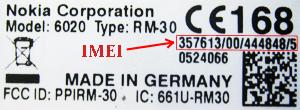 Nokia 6020 IMEI label