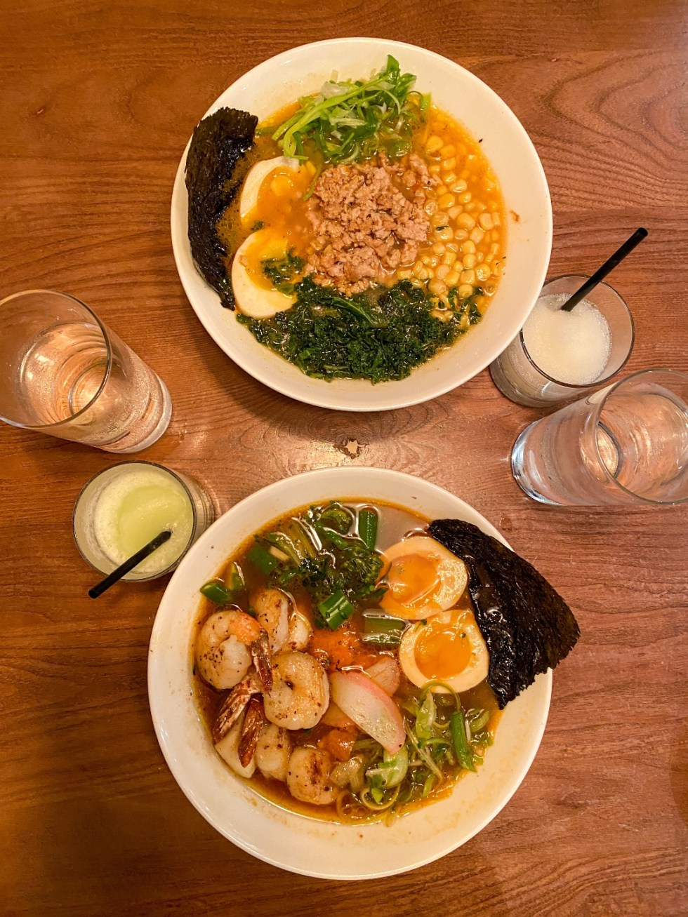 The Ultimate Girls' Day Out in Raleigh - I'm Fixin' To - @imfixintoblog | Girls Day Out In Raleigh by popular NC lifestyle blog, I'm Fixin' To: image of bowls of ramen and cocktail drinks.