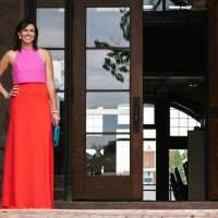 A Color Block Maxi Dress for Summer Weddings