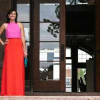 A Color Block Maxi Dress for Summer Weddings