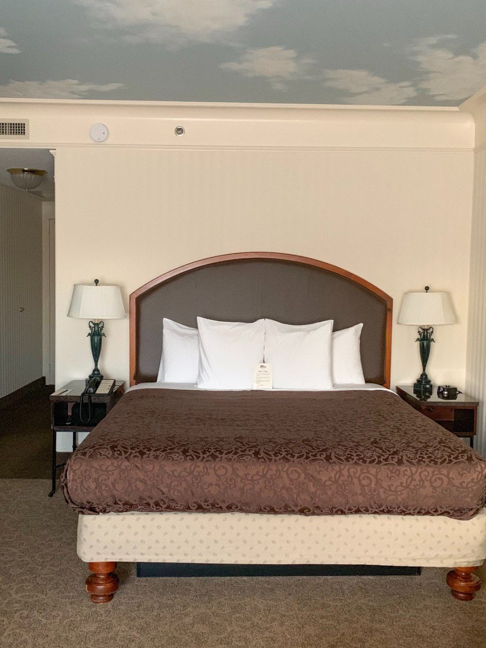 A Night at the O.Henry Hotel In Greensboro, NC - I'm Fixin' To - @mbg0112 | A Night at the O.Henry Hotel In Greensboro, NC by popular North Carolina blog, I'm fixin' To: image of a king size bed in a king room at the O. Henry Hotel with a nightstand and lamp on each side of the bed.