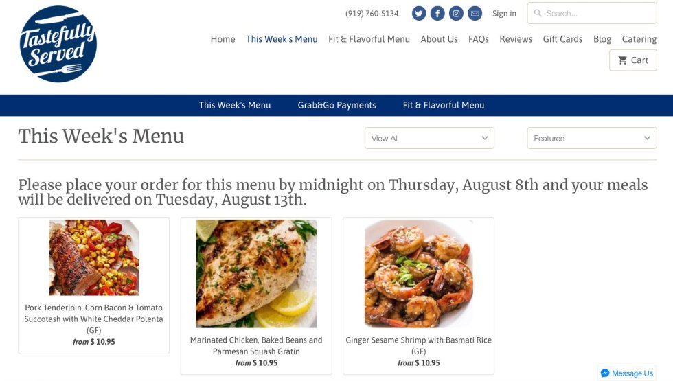 Weeknight Meal Ideas with Tastefully Served by popular North Carolina lifestyle blogger, I'm Fixin' To: image of Tastefully Served's weekly menu.