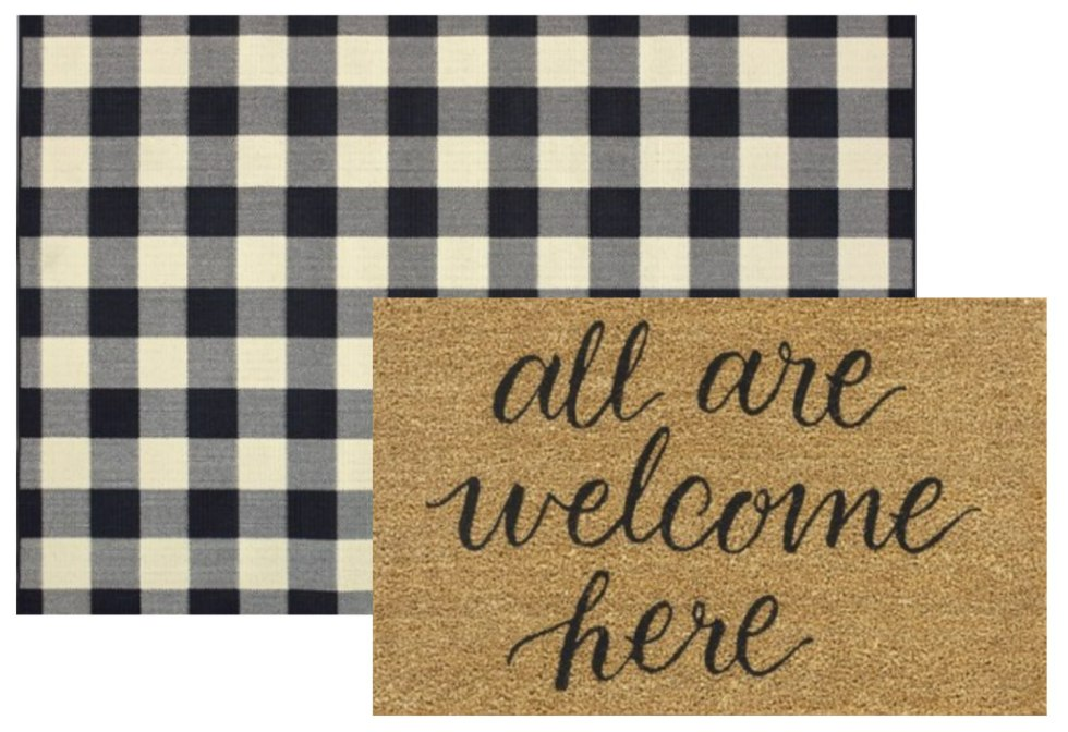 5 Layered Door Mat Combinations by popular North Carolina life and style blog, I'm Fixin' To: image of a Target Threshold All Are Welcome Here Tufted Doormat Beige and Wiest Gingham Check Black Indoor/Outdoor Area Rug By Millwood Pines