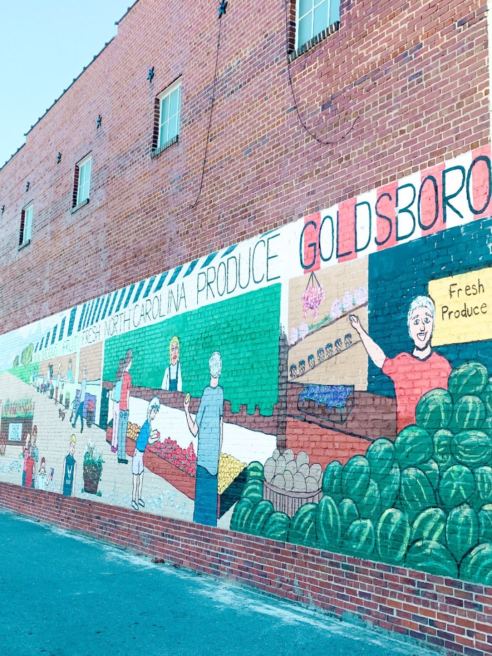 Eastern North Carolina Travel Guide: Top 10 Things to Do in Goldsboro NC by popular North Carolina blog, I'm Fixin' To: image of a building mural.