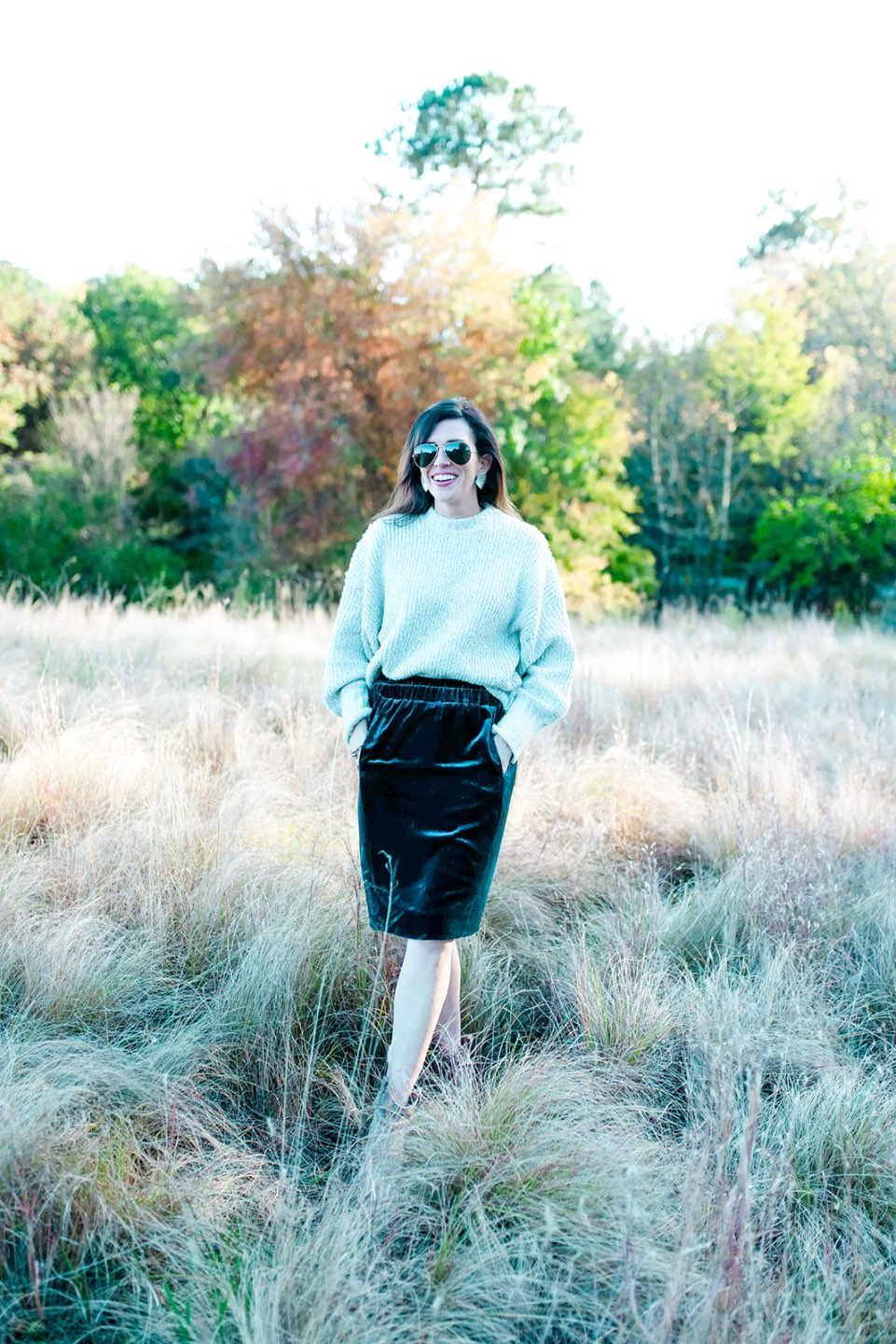 4 Outfit Ideas for Thanksgiving Supper - I'm Fixin' To - @mbg0112 | 4 Thanksgiving Outfit Ideas by popular North Carolina fashion blog, I'm Fixin' To: image of a woman outside wearing a Nordstrom TopShop Bouclé Sweater, J. Crew Velvet pull-on skirt, and Nordstrom Vince Camuto Cava Perforated Pointy Toe Boot.