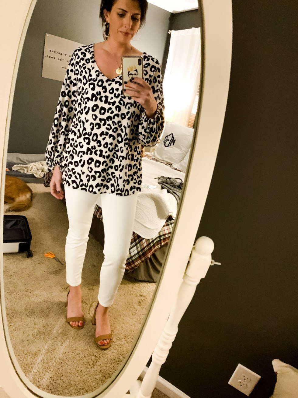 Top 10 Recent Amazon Purchases by popular North Carolina life and style blog, I'm Fixin' To: image of a woman wearing a Amazon Imysty Womens Oversized Lantern Sleeve Chiffon Blouse.