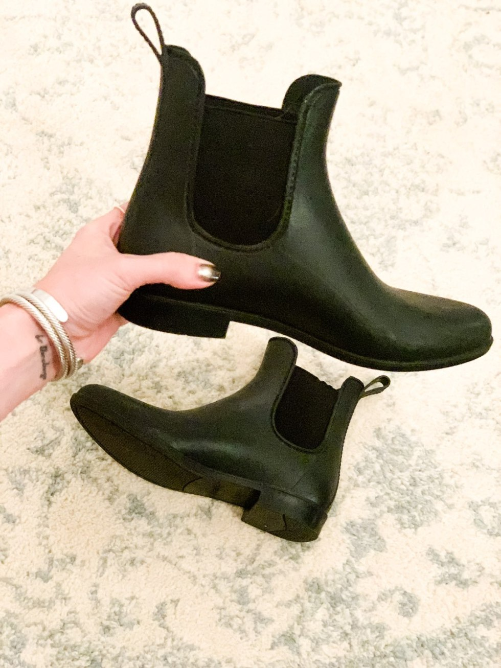 Favorite Cute Winter Booties - I'm Fixin' To - @mbg0112 | My Favorite Cute Winter Booties by popular NC life and style blog, I'm Fixin' To: image of a woman wearing J. Crew Chelsea rain boots.