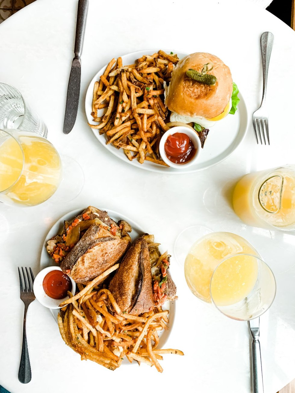 Brunch in Raleigh by popular Raleigh blog, I'm Fixin To: image of a burger and fries.