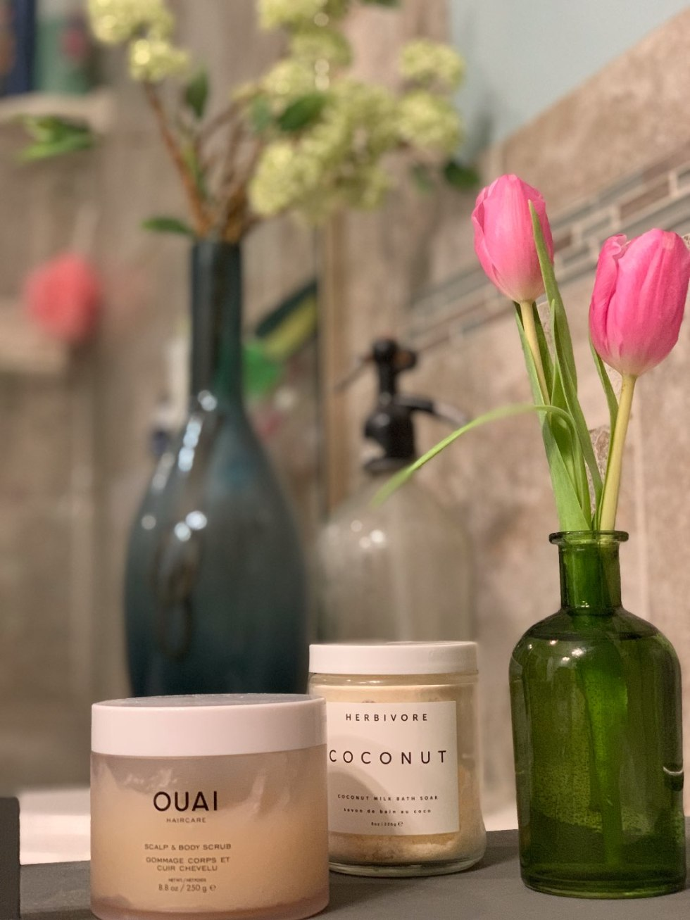 Self Care for Valentine's Day - I'm Fixin' To - @mbg0112 | Love yourself on Valentine's Day by popular NC life and style blog, I'm Fixin To: image of Ouai scalp and body scrub and Herbivore coconut milk bath soak.