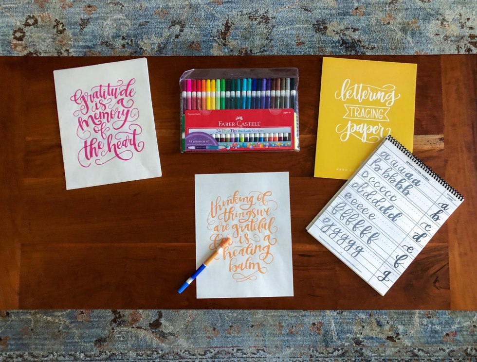 How to Make the Most of Your Time by popular N.C. lifestyle blog, I'm Fixin' To: image of calligraphy paper, quotes, and markers.