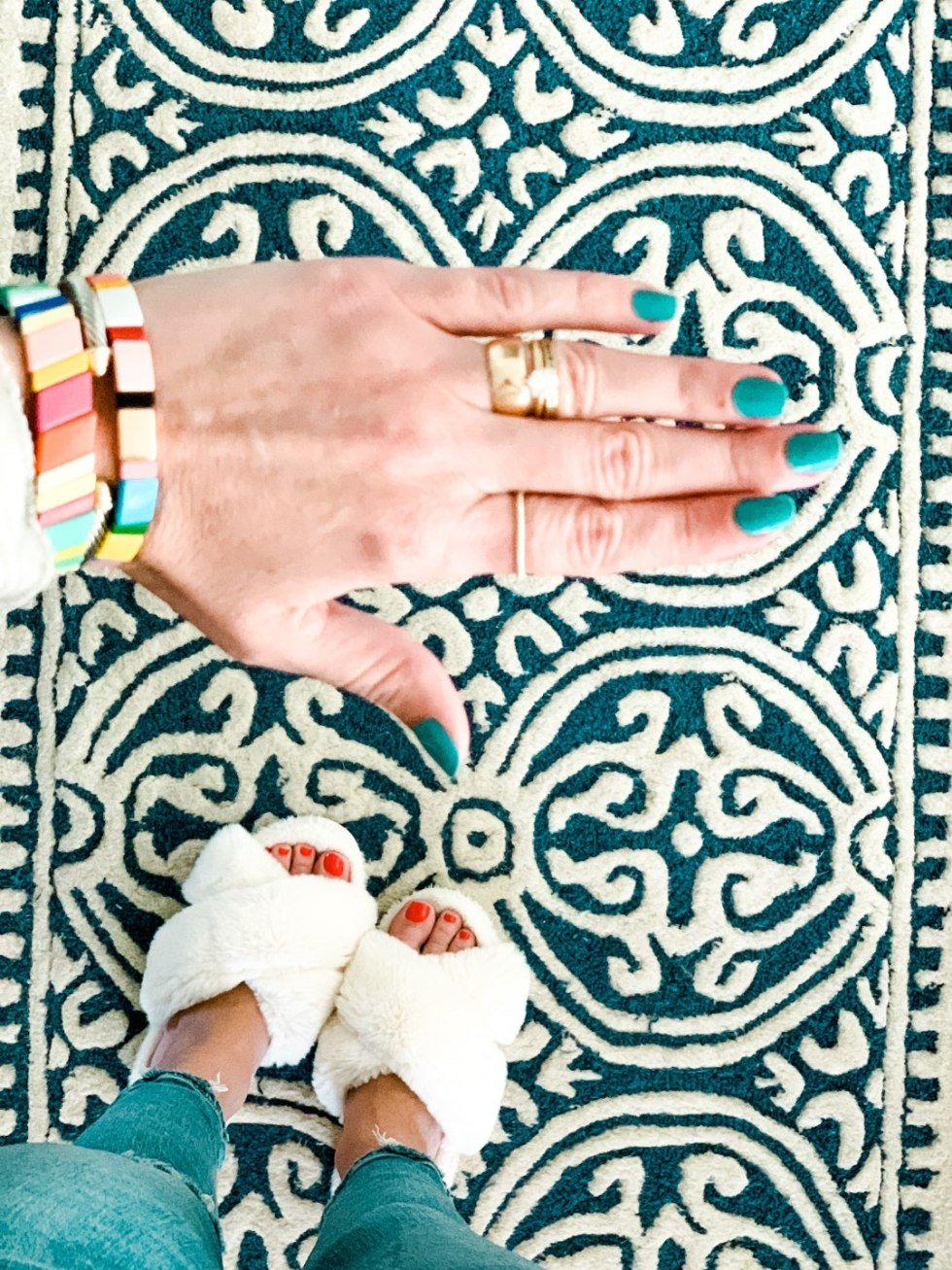 Recent Purchases by popular N.C. life and style blog, I'm Fixin' To: image of a woman wearing Amazon ZOLEAROPY Enamel Tile Bracelet.
