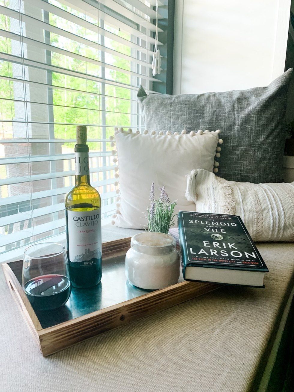 Top 10 Best Wines by popular N.C. lifestyle blog, I'm Fixin' To: image of a bottle of Castillo Clavijo wine on a window bench next to a candle and a book.
