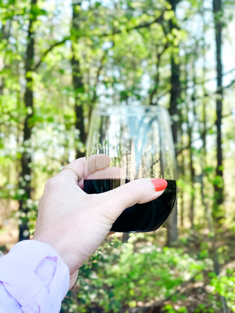 Top 10 Best Wines by popular N.C. lifestyle blog, I'm Fixin' To: image of a woman holding a stemless wine glass filled with red wine.