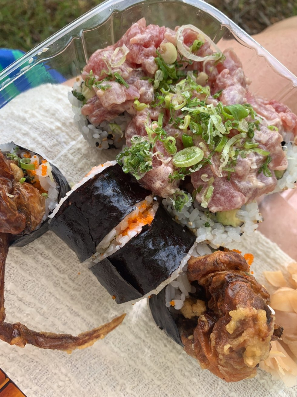 The Top 3 Places to Have a Picnic in Raleigh - I'm Fixin' To - @mbg0112 | Picnic in Raleigh by popular North Carolina blog, I'm Fixin' To: image of sushi from Waraji.