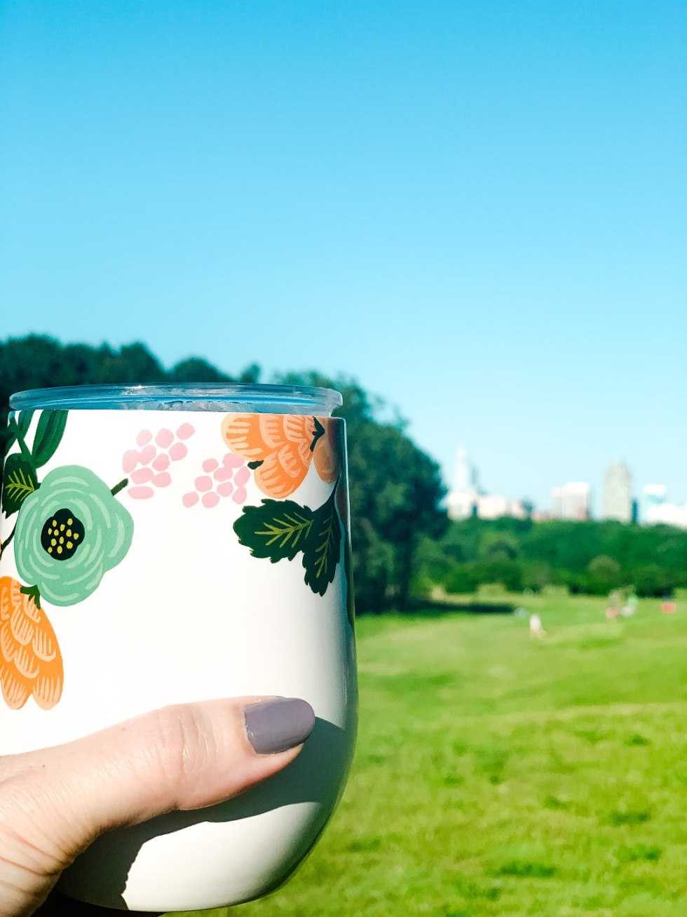 The Top 3 Places to Have a Picnic in Raleigh - I'm Fixin' To - @mbg0112   Picnic in Raleigh by popular North Carolina blog, I'm Fixin' To: image of a woman holding a wine cooler tumbler.