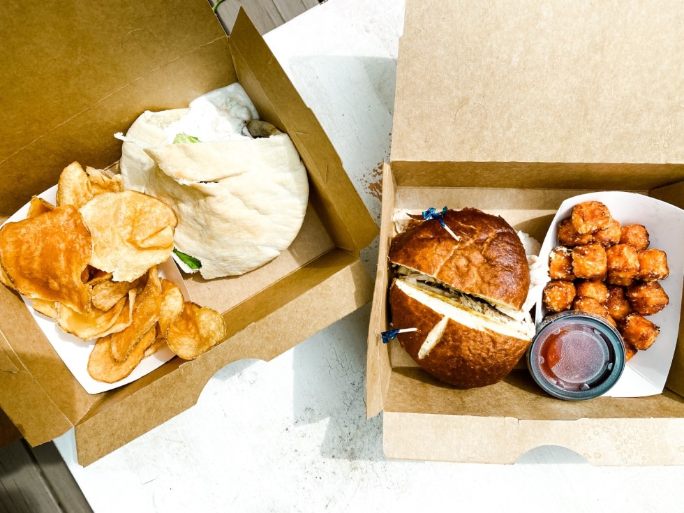 A Casual Weekend in Asheville: the Best Things to Do with your Dogs - I'm Fixin' To - @mbg0112   Weekend In Asheville by popular NC travel blog, I'm Fixin' To: image of boxed lunches.
