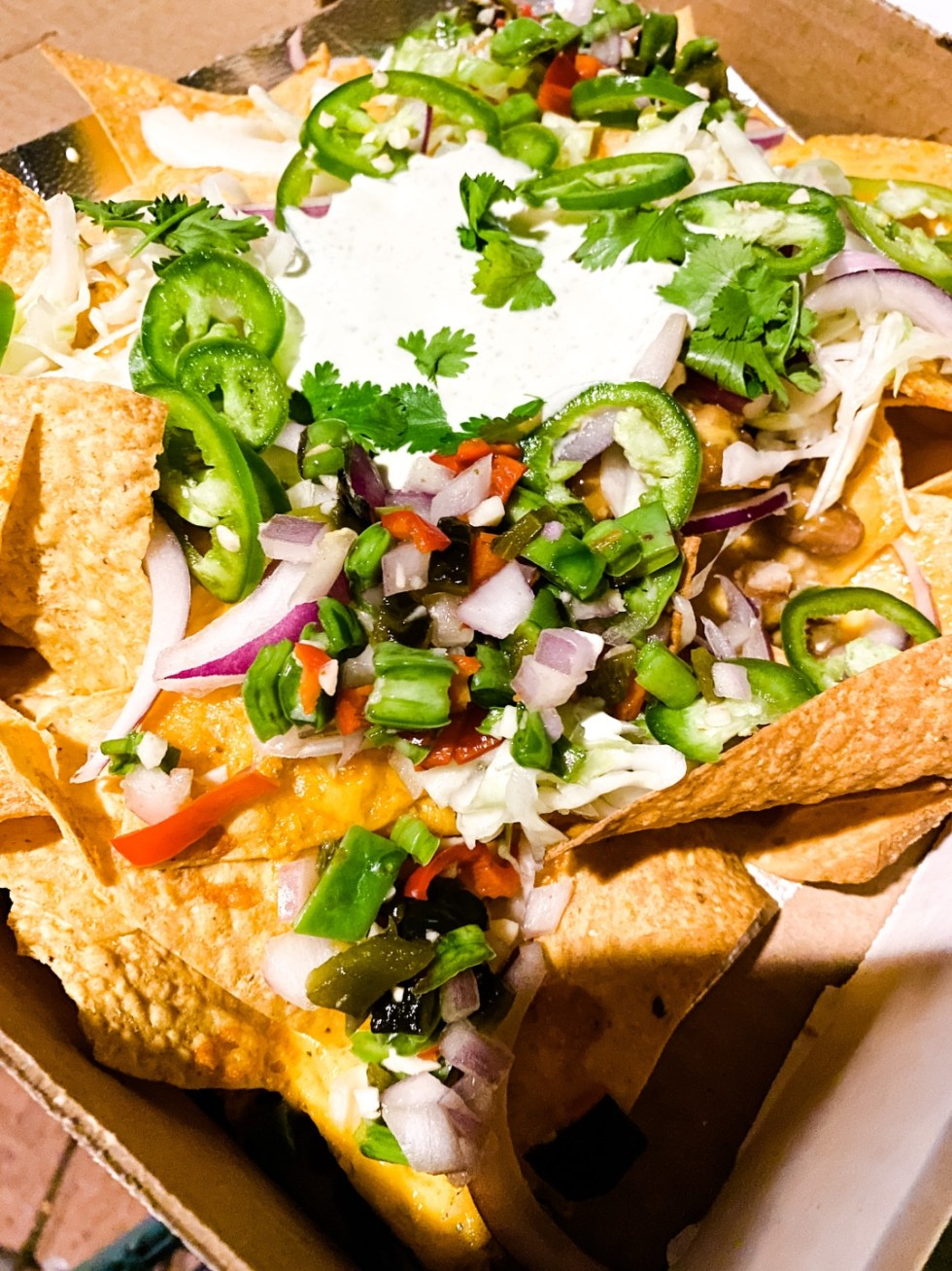 Date Night at the The Streetery in Downtown Durham - I'm Fixin' To - @mbg0112 |The Streetery in Downtown Durham by popular N.C. blog, I'm Fixin' To: image of a box of nachos at Jack Tar.