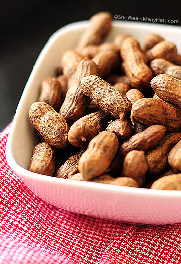 Best Southern Food by popular N.C. lifestyle blog, I'm Fixin' To: image of a bowlful of boiled peanuts.