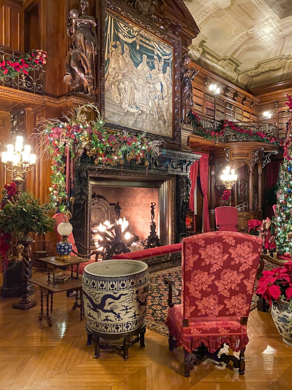 Christmas in Asheville: a Weekend Getaway During the Holidays - I'm Fixin' To - @imfixintoblog |Christmas in Asheville NC by popular NC lifestyle blog, I'm Fixin' To: image of a ornate fireplace at the Biltmore House.