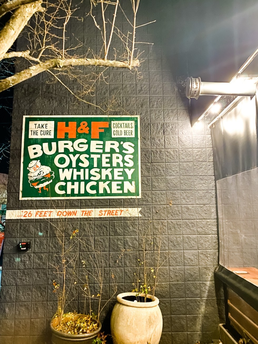 Christmas in Asheville: a Weekend Getaway During the Holidays - I'm Fixin' To - @imfixintoblog |Christmas in Asheville NC by popular NC lifestyle blog, I'm Fixin' To: image of H&F Burger's Oysters Whiskey Chicken.