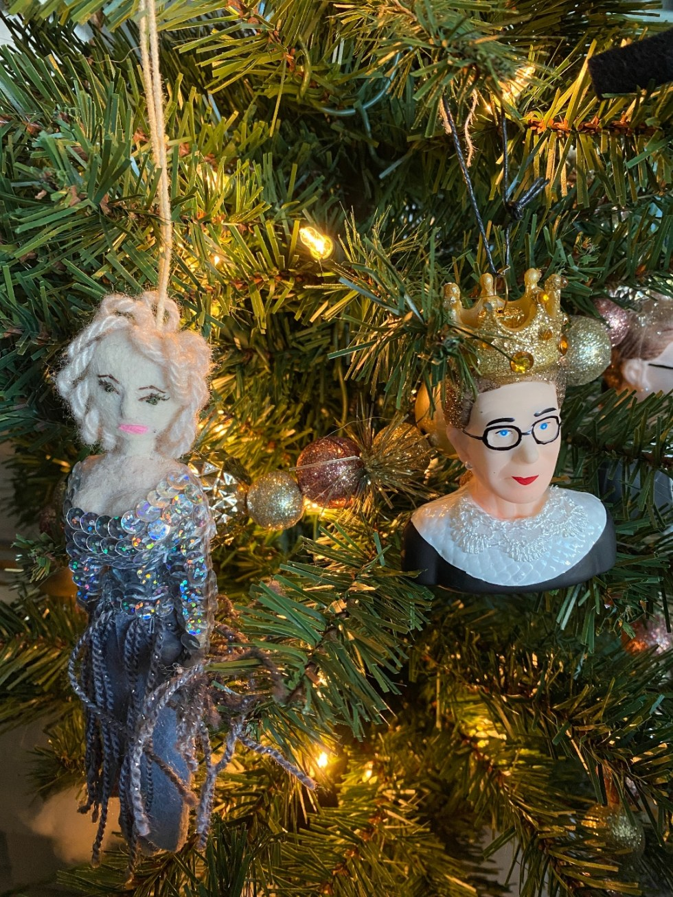 Unique Christmas Ornaments by popular NC life and style blog, I'm Fixin' To: image of a RBG and Marilyn Monroe ornament.