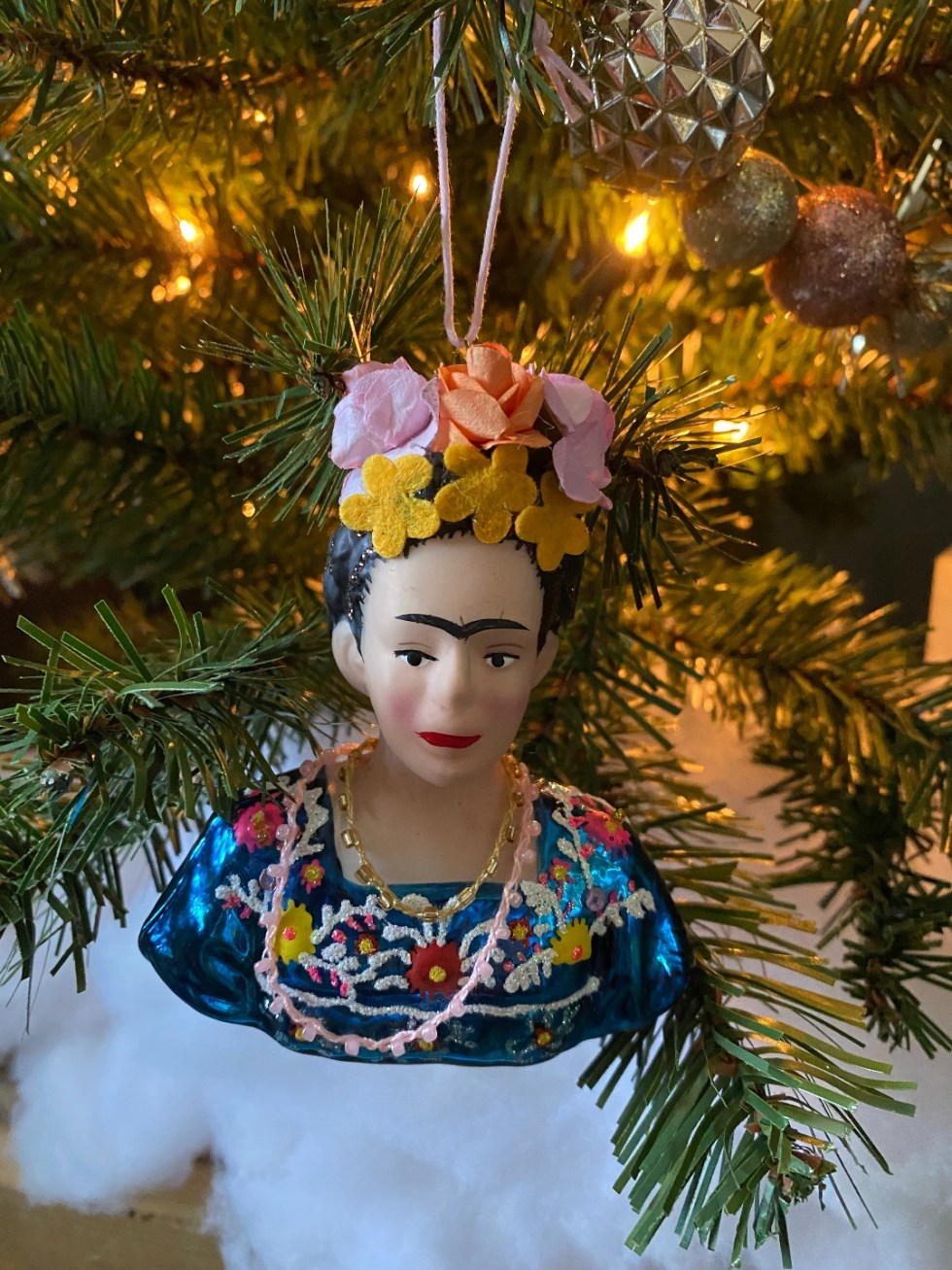 2020 Holidays: Unique Christmas Ornaments - I'm Fixin' To - @mbg0112 |Unique Christmas Ornaments by popular NC life and style blog, I'm Fixin' To: image of a Frida Kahlo ornament.