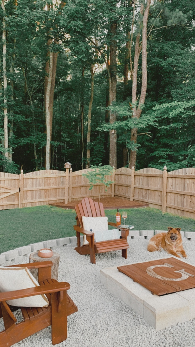20 Moments I am Grateful for in 2020 - I'm Fixin' To - @imfixintoblog |Moments to be Grateful for by popular NC lifestyle blog, I'm Fixin' To: image of a backyard decorated with wooden lounge chairs and a fire pit.