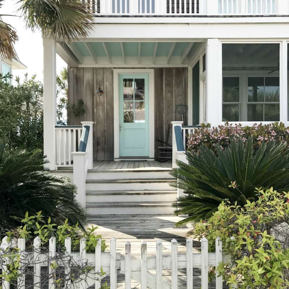 Counties in NC by popular NC blog, I'm Fixin' To: image of a North Carolina beach house with a light blue door and white picket fence.