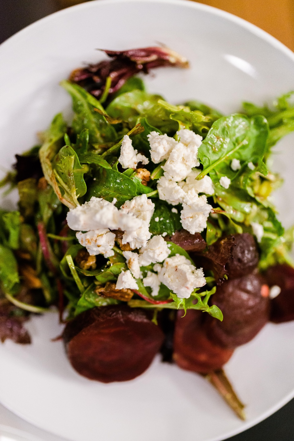 Places to Stay: The Colonial Inn in Hillsborough NC - I'm Fixin' To - @imfixintoblog |The Colonial Inn Hillsborough NC by popular NC travel blog, I'm Fixin' To: image of a salad with beets and goat cheese.