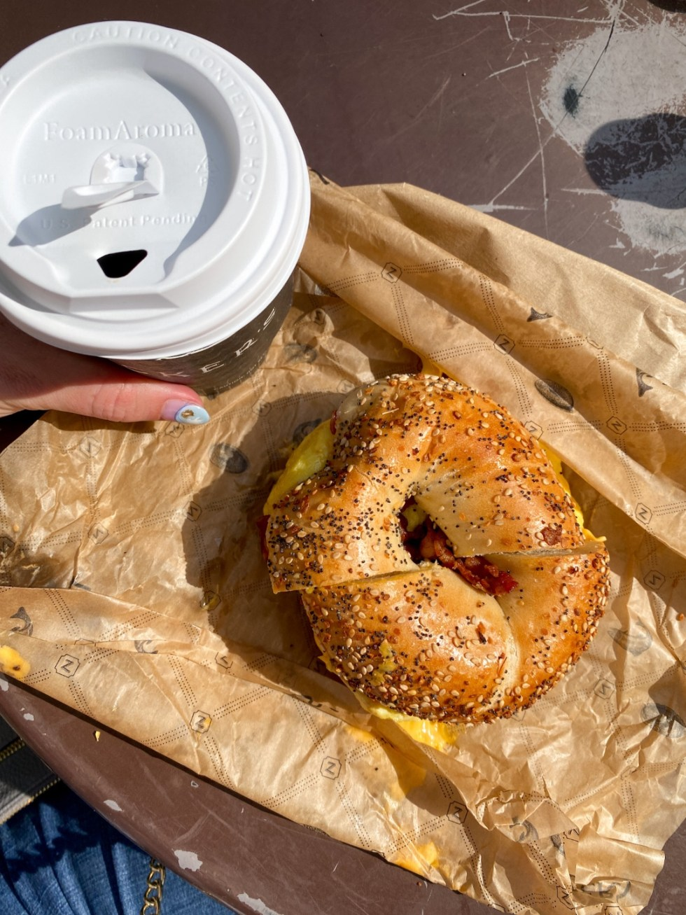 NYC Summer Weekend: Things to Do in NYC in the Summer - I'm Fixin' To - @imfixintoblog   NYC Summer Weekend by popular NC travel blog, I'm Fixin' To: image of a bagel sandwich.