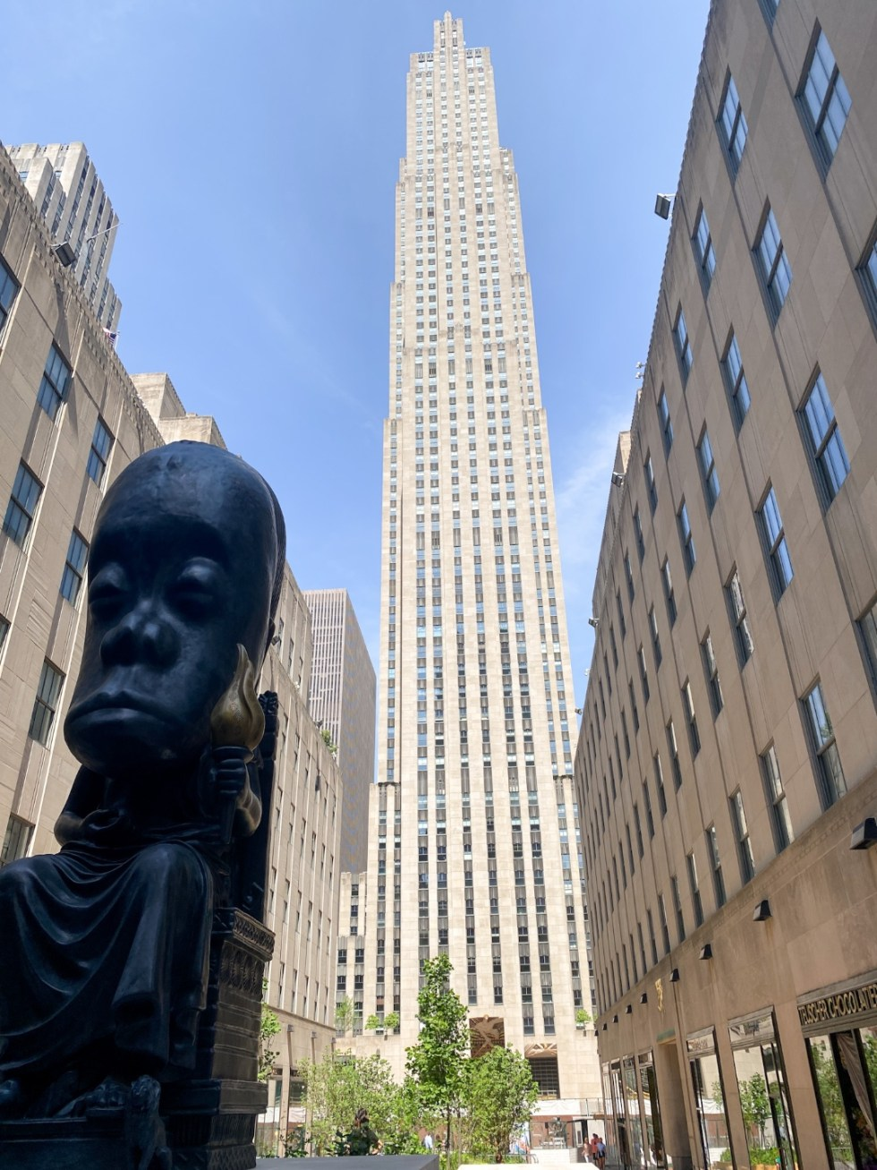 NYC Summer Weekend: Things to Do in NYC in the Summer - I'm Fixin' To - @imfixintoblog   NYC Summer Weekend by popular NC travel blog, I'm Fixin' To: image of the Rockefeller Center sculpture.