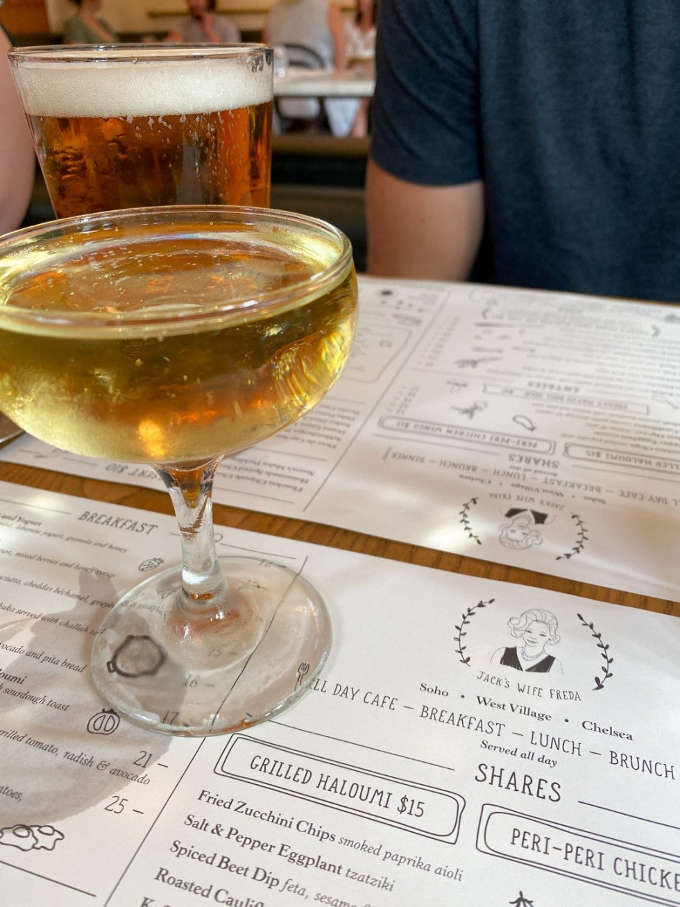 NYC Summer Weekend: Things to Do in NYC in the Summer - I'm Fixin' To - @imfixintoblog   NYC Summer Weekend by popular NC travel blog, I'm Fixin' To: image of an alcoholic drink on a Jack's Wife Freda menu.
