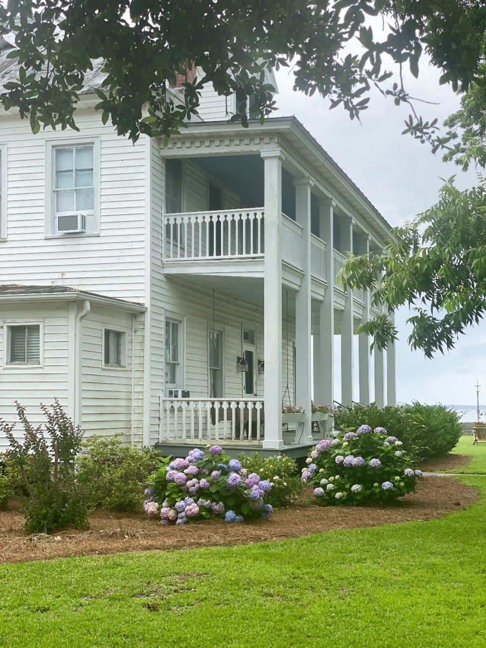 What to Do in Oriental, NC - I'm Fixin' To - @imfixintoblog | Things to do in Oriental NC by popular NC travel blog, I'm Fixin' To: image of a white Colonia house with purple hydrangea plants.