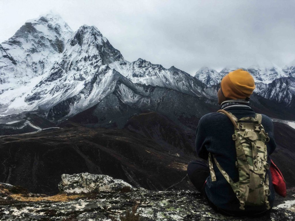 Looking at Mt. Ama Dablam from Tengboche Hiking Hill