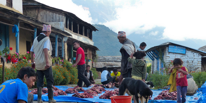 Traditional Way of Selling Meat in Nepal