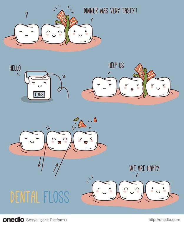 Dişçilerin sözünü dinleyin ve diş ipi kullanmaya gayret edin.