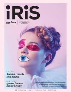 Visuel de couverture du magazine Iris avec une femme maquillée pour fermer ses yeux et sa bouche