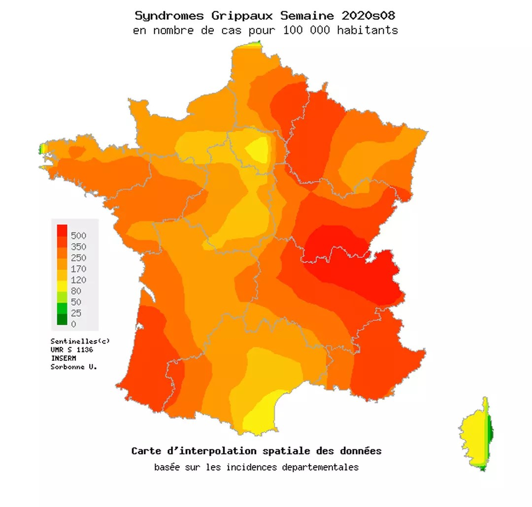 carte grippe france 2020 symptoms, vaccine, how is the epidemic progressing at the moment