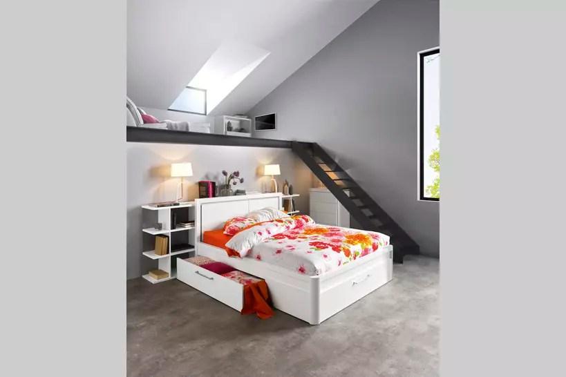 le lit avec rangements integres pour