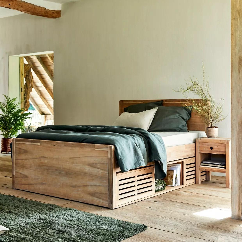 lit en bois avec rangement alinea