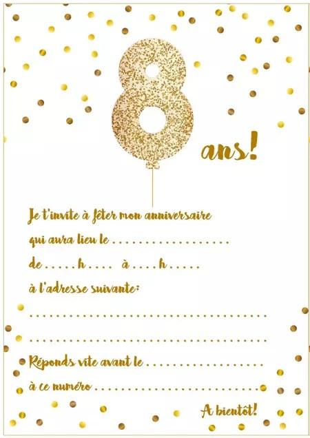 carte d invitation d anniversaire 8 ans