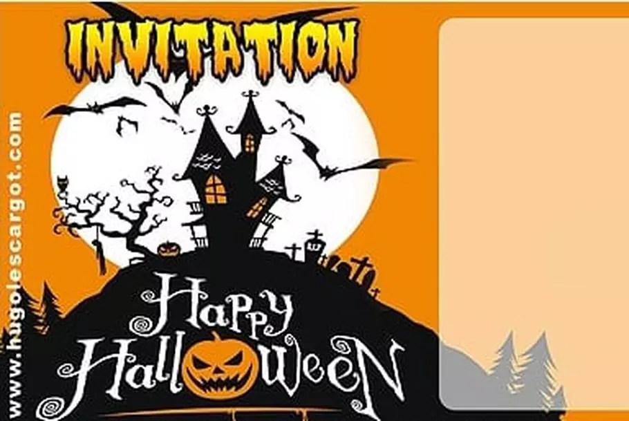 carte invitation halloween manoir hante