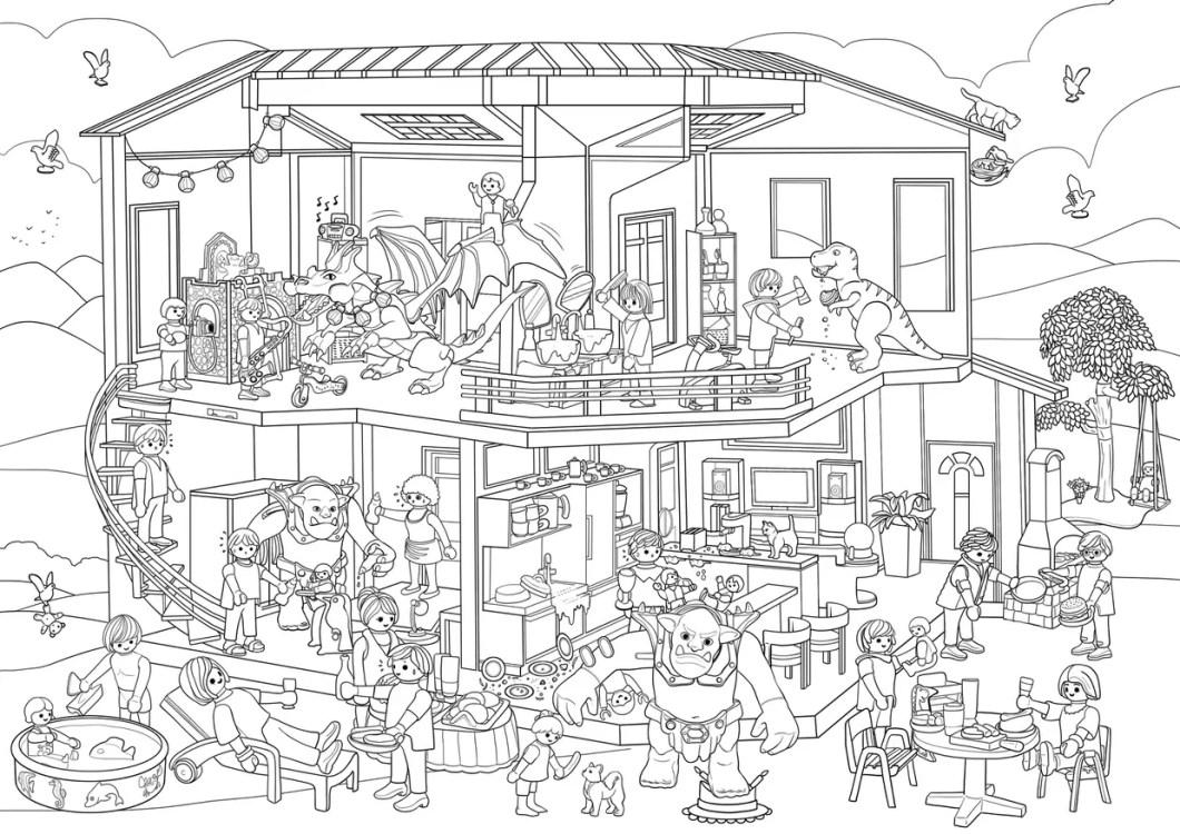 coloriage playmobil maison  ventana blog