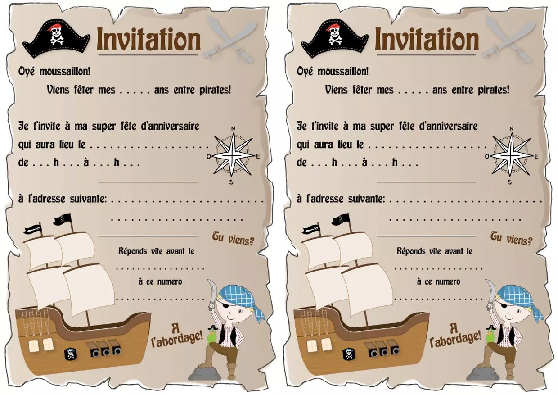 invitation d anniversaire theme pirates