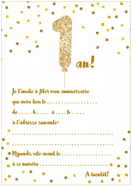 carte d invitation d anniversaire 1 an